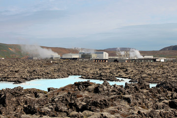 The Blue Lagoon in Reykjanes is pictured with the Svartsengi geothermal power plant in the background