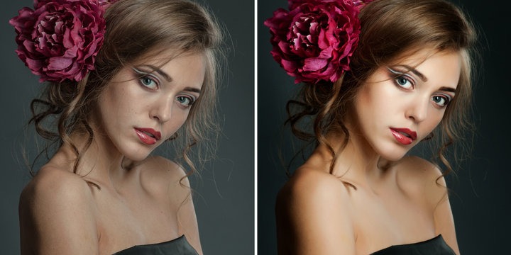 Before and After Retouch Portrait. Editing Example.
