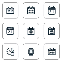 Vector Illustration Set Of Simple Calendar Icons. Elements Snowflake, Remembrance, 2016 Calendar And Other Synonyms Smart, Hour And Winter.