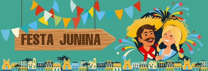Festa Junina - Brazil June Festival. Folklore Holiday banner. Characters. Vector Illustration.