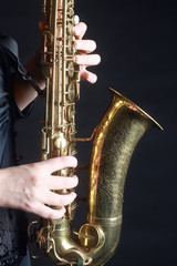 Poster Muziek Saxophone Player Saxophonist playing jazz music. Sax player