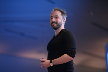 Drew Houston, Chief Executive Officer and founder of Dropbox, explains the cloud storage company's new products at an announcement event in San Francisco