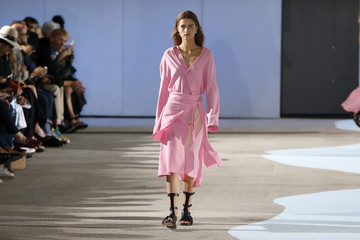 A model presents a creation by Belgian designer Cedric Charlier as part of his Spring/Summer 2016 women's ready-to-wear collection during Fashion Week in Paris