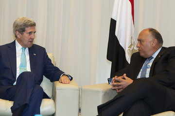 U.S. Secretary of State Kerry and Egyptian Foreign Minister Shoukry meet on the sidelines of the Egypt Economic Development Conference in Sharm el-Sheikh