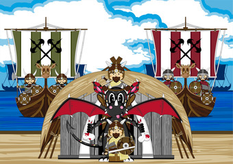 Cartoon Vikings and Dragon