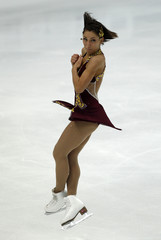 Lacoste of Canada performs during the ladies free skating event at the ISU World Figure Skating Championships in Moscow
