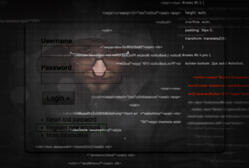 Hacker stealing password at work with graphic user interface around