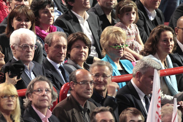 Jospin, Delanoe, Aubry, Joly and Royal attend a campaign rally for Hollande, France's Socialist party candidate for the 2012 French presidential election, at the Bercy sports complex in Paris