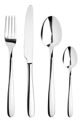 fork, knife, spoon, teaspoon, cutlery on white background, isolated