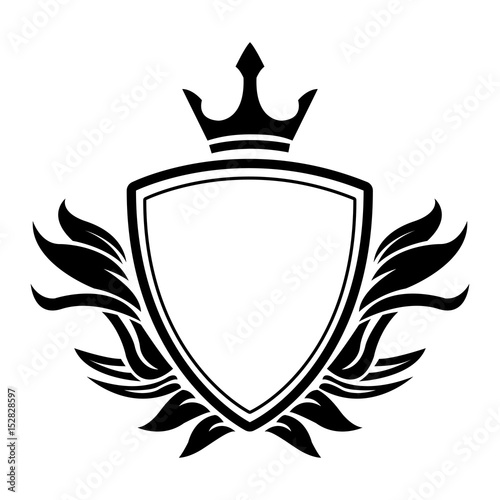 decorative shield crown heraldry victorian elegant frame vector ...