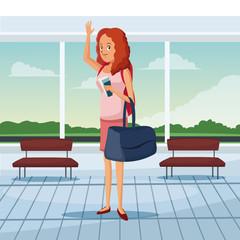 tourist waiting at airport terminal vector illustration