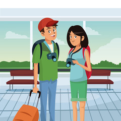 loving couple standing at airport. traveling scene hall design vector illustration