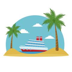 cartoon cruise ship tropical beach palm tree vector illustration
