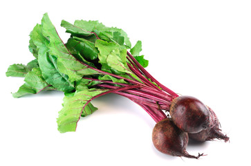 Wall Mural - bunch of fresh beets on white background