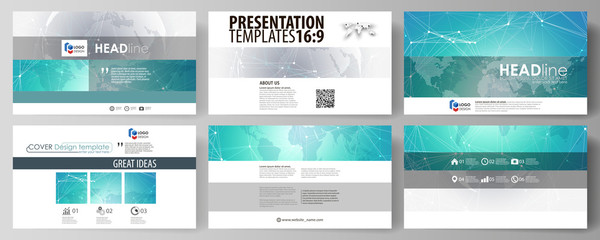 The minimalistic abstract vector illustration of editable layout of high definition presentation slides design business templates. Chemistry pattern. Molecule structure. Medical, science background.