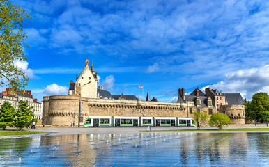 Castle of the Dukes of Brittany, a City tram and the Water Mirror fountain in Nantes, France Fotomurales