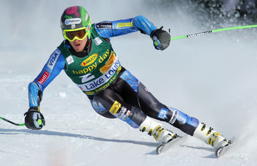 U.S. skier John Ligety in action to a fourth place finish during the Men's World Cup Super-G race in Lake Louise