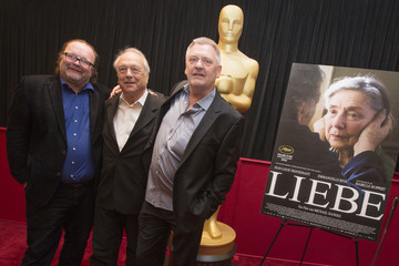 """Producers of the Austrian film """"Liebe"""" pose during photo opportunity of Oscar nominated foreign language films ahead of 85th Academy Awards in Los Angeles"""