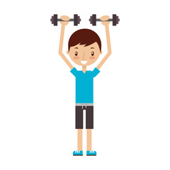 boy exercising with dumbells vector illustration graphic design