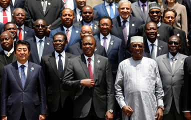 Japan's Prime Minister Shinzo Abe joins African leaders for a group photograph during a break session for the Sixth Tokyo International Conference on African Development in Kenya's capital Nairobi