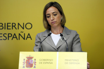 Spain's Defence Minister Carme Chacon appears before her news conference at the headquarters of Spain's Defence Ministry