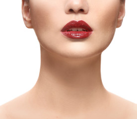 Woman with red lips isolated on white