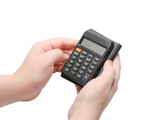 Calculator with blank display in the hands