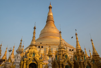 Shwedagon pagoda the most tourist attraction place in Yangon township of Myanmar during the sunset.