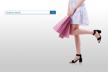 shopping woman with search products button for purchase online concept.