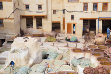 A tannery at Fez, Morocco