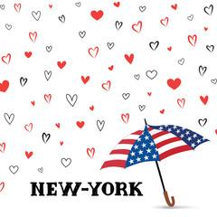 Travel USA background. Love New York City pattern. Heart backgrond