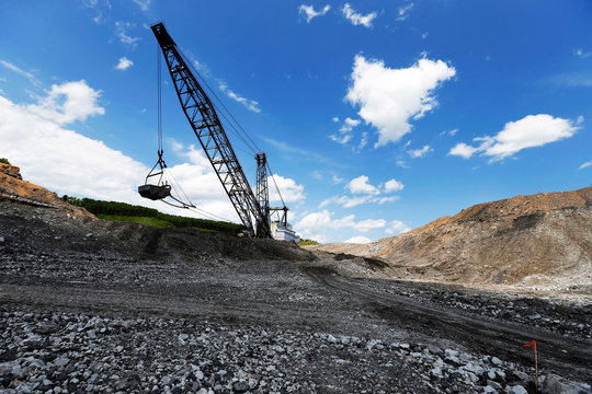 The massive Big John dragline works to reshape the rocky landscape in some of the last sections to be mined for coal at the Hobet site in Boone County