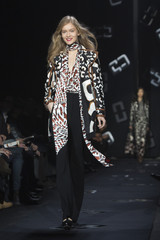 A model presents a creation from the Diane von Furstenberg Autumn/Winter 2013 collection during New York Fashion Week