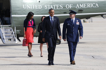 Obama departs Joint Base Andrews in Washington to attend the United Nations General Assembly in New York