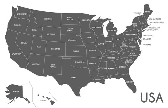 USA Map vector illustration isolated on white background. Editable and clearly labeled layers.