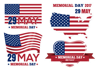 Banner set for Memorial Day 2017. 29 May. Federal holiday in the United States. Collection of decorative elements for a memorable day. Vector illustration