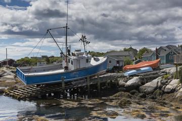 Fishing boat on dry dock, Nova Scotia, Canada