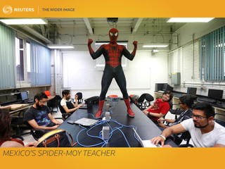 The Wider Image: Mexico's Spider-Moy teacher