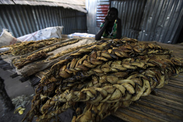 Youth sells dried fish at the Bor market in the Jonglei state capital of Bor