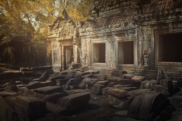 In de dag Rudnes Ancient,abandoned temple of Angkor Wat, Cambodia