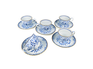 Chinese set of tea cups on white background