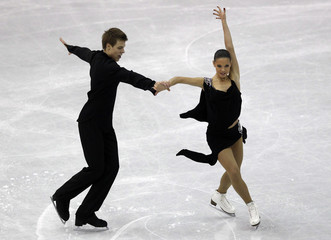 Ilinykh and Katsalapov of Russia perform during the ice dance short dance at the ISU World Figure Skating Championships in Nice