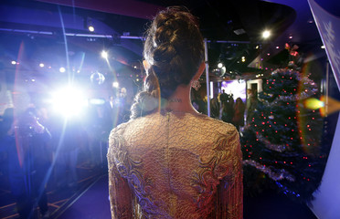 A tattoo is seen on the wax figure of singer and actress Selena Gomez after it was unveiled at Madame Tussauds museum in Hollywood