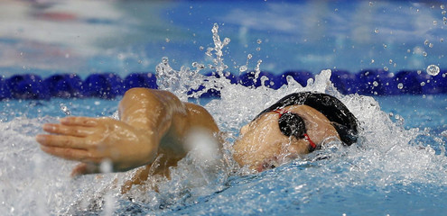 Uchida competes in the women's 100m freestyle final at the Munhak Park Tae-hwan Aquatics Center during the 17th Asian Games in Incheon