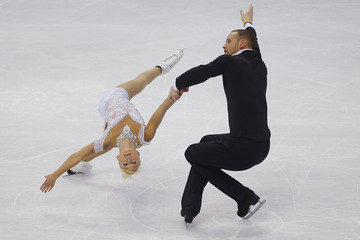 Caydee Denney and John Coughlin compete in the pairs free skate competition at the U.S. Figure Skating Championships in Boston