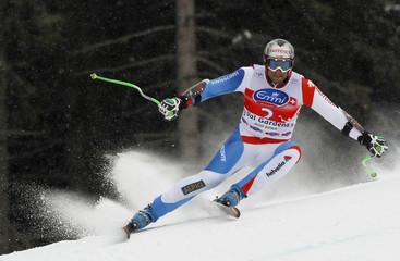 Silvan Zurbriggen of Switzerland skis past a gate in the men's World Cup Super-G race in Val Gardena