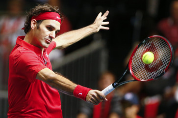Switzerland's Federer returns a ball during his Davis Cup semi-final tennis match against Italy's Bolelli  in Geneva