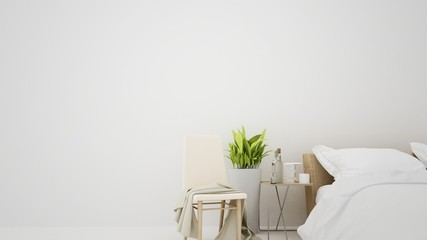 The interior furniture white background and living - 3D Rendering