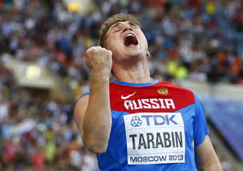 Tarabin of Russia reacts after finishing third in the men's javelin throw final during the IAAF World Athletics Championships at the Luzhniki stadium in Moscow