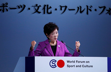 Tokyo Governor Koike speaks on the Tokyo 2020 Olympics at the World Forum on Sport and Culture in Tokyo